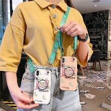 Anti-knock strap case for iphone X XR XS MAX 8 7 6 6s  plus cover cute cartoon dinosaur holder tpu+pc hard phone bag capa