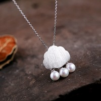 925 Sterling Silver Imitation Pearls Clouds Raindrop Necklaces Pendants For Women Cute Style Lady Sterling Silver