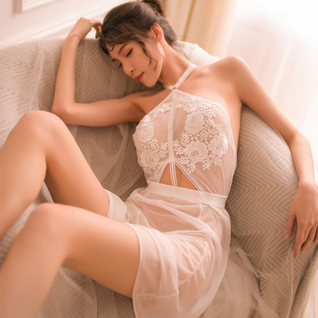 Lingerie Sexy Hot Erotic Sex Underwear Women See Through Lace Mesh Babydoll Chemise Nightgown Female Negligee AD0311
