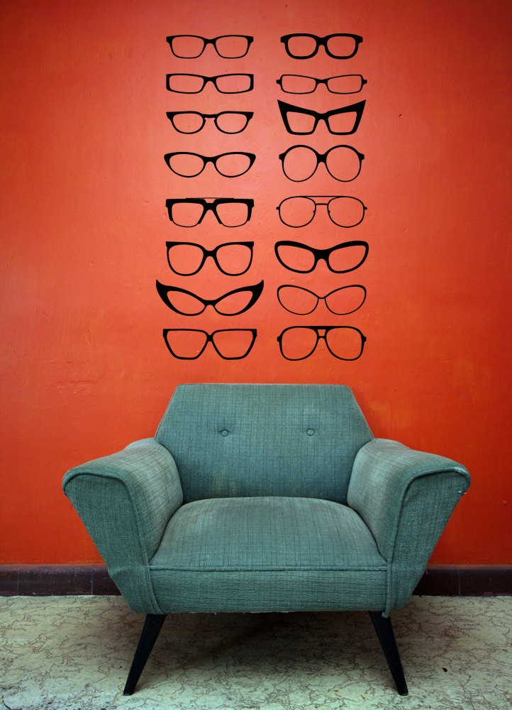 lots of glasses wall stickers for living room bedroom decoration optical shop wall poster murals vinyl. beautiful ideas. Home Design Ideas