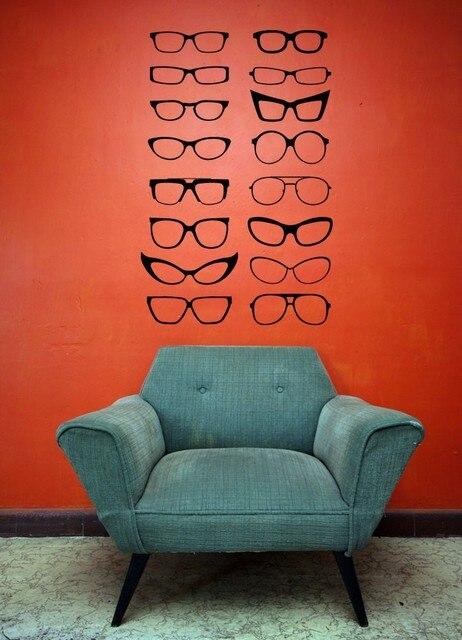Un sacco di occhiali wall stickers per soggiorno camera da letto decorazione negozio di ottica - Wall stickers camera da letto ...