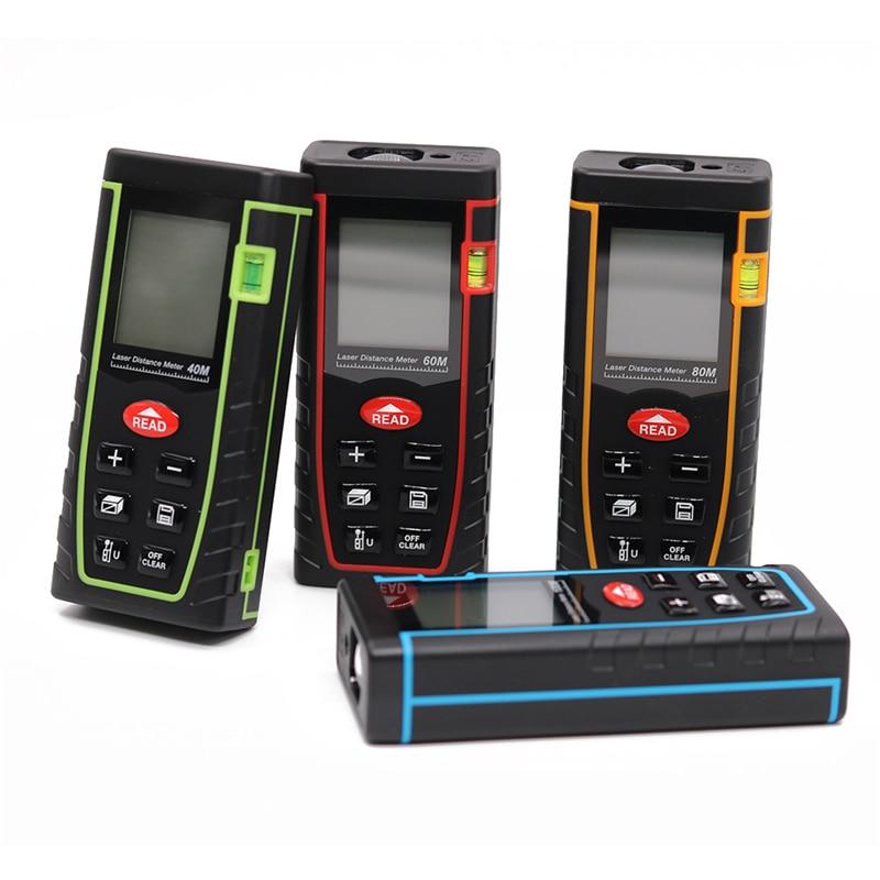 New Laser Distance Meter 40M 60M 80M 100M Laser Rangefinder Laser Tape Range FinderTrena Ruler Measure Roulette цена