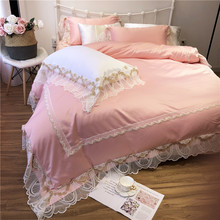 Luxury Princess Style Pink Blue White Purple Washed Silk Cotton Wedding Bedding Set Lace Duvet Cover Bed sheet/Linen Pillowcases