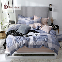Liv Esthete Classic Grid Elegant Bedding Set Duvet Cover Pillowcase Stripe Fitted Sheet Bed Linen Home Textile Drop shipping