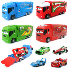 2Pcs/Set Disney Pixar Cars Lightning McQueen Jackson Storm Chick Hicks Mack Truck Diecast Model Toy Car Children Christmas Gift(China)