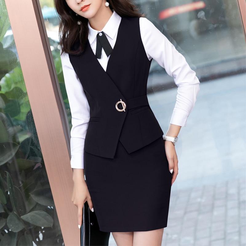 2 Piece Set Women Business Suits With Vest +Skirt And Top Sets Black Vest & Waistcoat Ladies Office Uniform Designs Plus Size