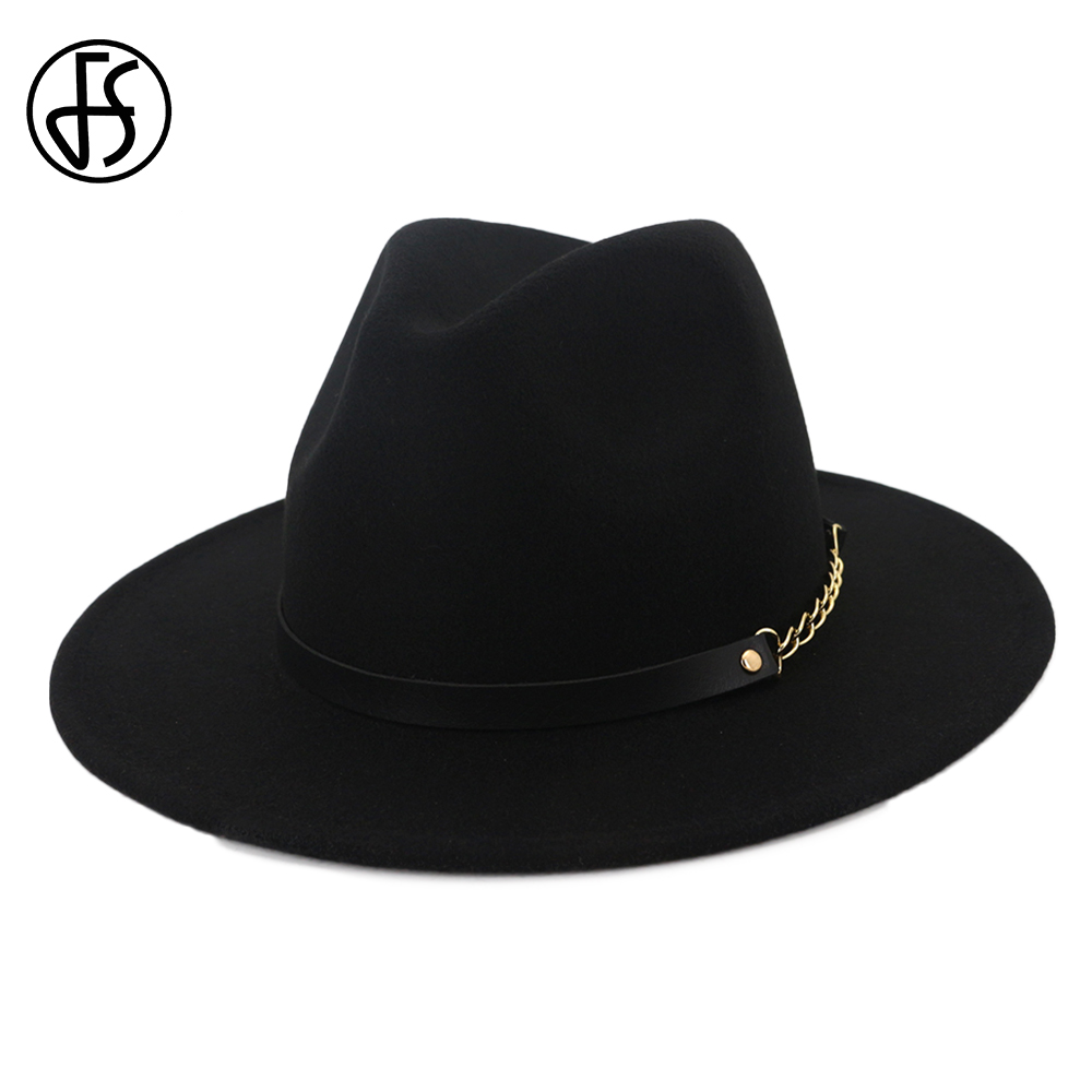 FS Black Wool Felt Hat Wide Brim Fedoras Church Hats Women Elegant Men Godfather Steampunk Top Vintage Cap With Leather Belt