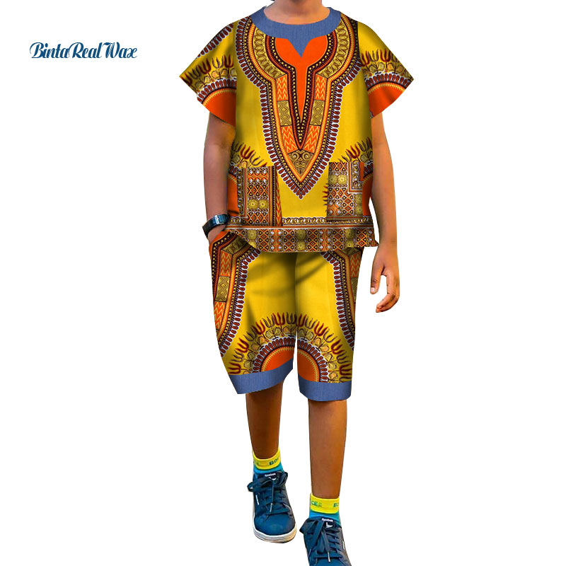 African Boy's Dashiki Tops And Pants Sets Bazin Riche African Print Patchwork Shirt And Pants Sets Children Clothing WYT298