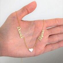 Colar com dois nome personalizado de coração, colar personalizado de coração duplo declaração de amor colar de mulheres corrente de aço inoxidável collier femme