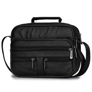 Image 3 - Męska torba z prawdziwej skóry torebka na ramię ze skóry bydlęcej na męskie torby Crossbody czarne Retro wielofunkcyjne torebki