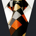 S4 tamaño extra largo chequeado negro plata orange caqui corbata para hombre corbatas 100% seda jacquard tejido moda