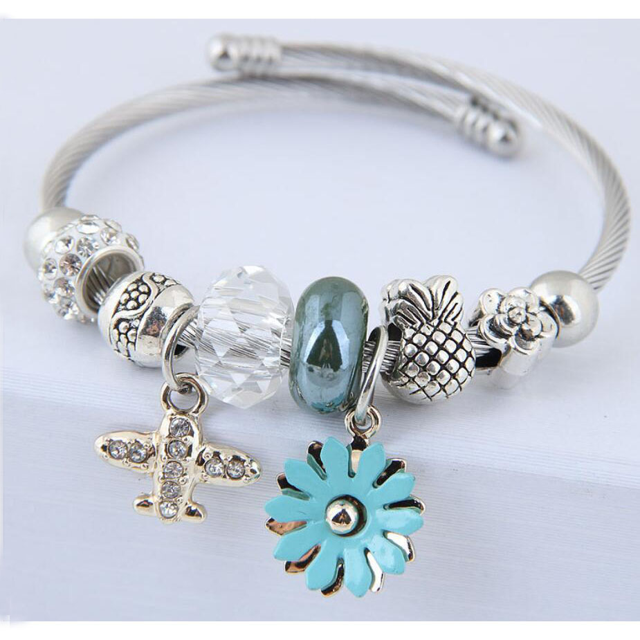 28-1Fashion Design Women Bangles Bracelets Bohemia Style Flower Plane Pendants European Bangles For Female All-Math Jewelry