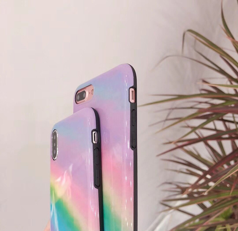 Mr.orange Summer Gradient Rainbow for Apple iphone X Mobile Shell iphone7plus/8/6s Soft Silicone Fairy Fairy Protection shell