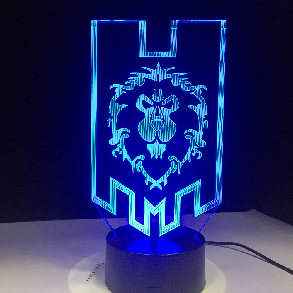 Image 5 - World of Warcraft 3D LED Lamp The Alliance Tribal Signs Remote Touch Control Night Light USB Decorative Table Lamp Friends Gift-in LED Night Lights from Lights & Lighting