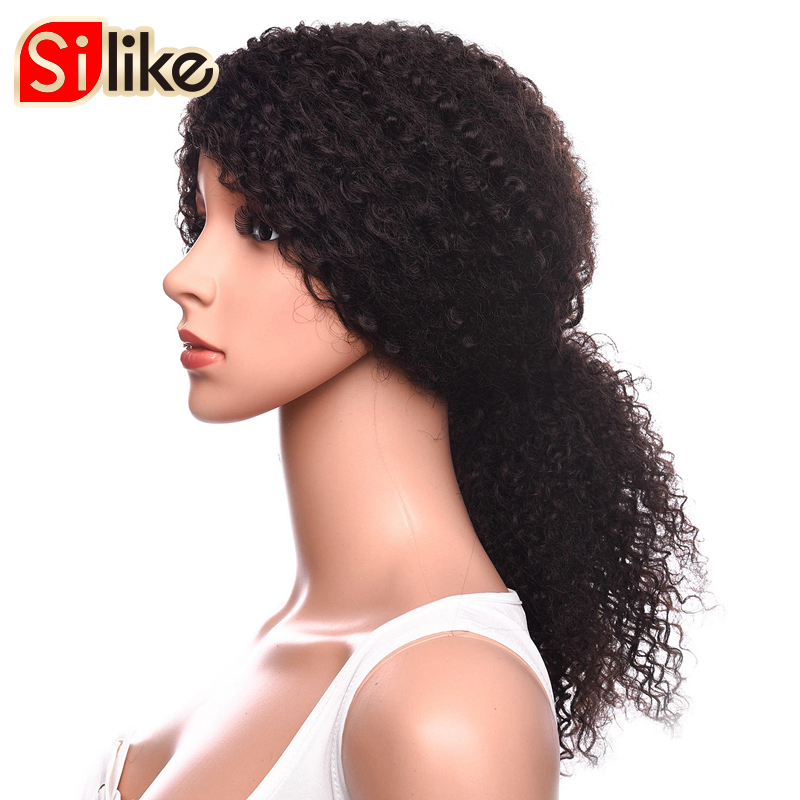 Silike Long Afro Kinky Curly Wigs for Black Women Kanekalon Fiber Wigs 2 Pure Colors Available Synthetic Wigs