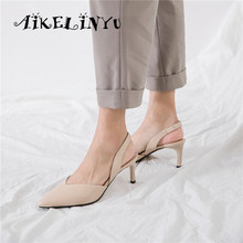 AIKELINYU Women Sandals Cow Leather Stiletto Heel Pointed Toe Slingback Concise Ladies Pumps Summer Elastic Band Creativity Shoe