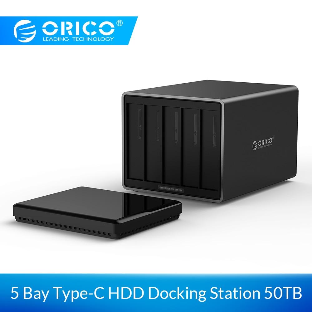 ORICO NS500C3 5 Bay Tipo-C Hard Drive Dock Supporto 50 TB di storage USB3.1 5 Gbps UASP con 12V6. 5A Adattatore Strumento di Trasporto Box e Alloggiamenti per HDD