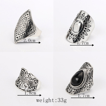 4PCS/Set Vintage Turkish Beach Punk Resin Beads Ring Set Ethnic Carved Silver Plated Boho Midi Finger Ring Knuckle Charm anelli 1