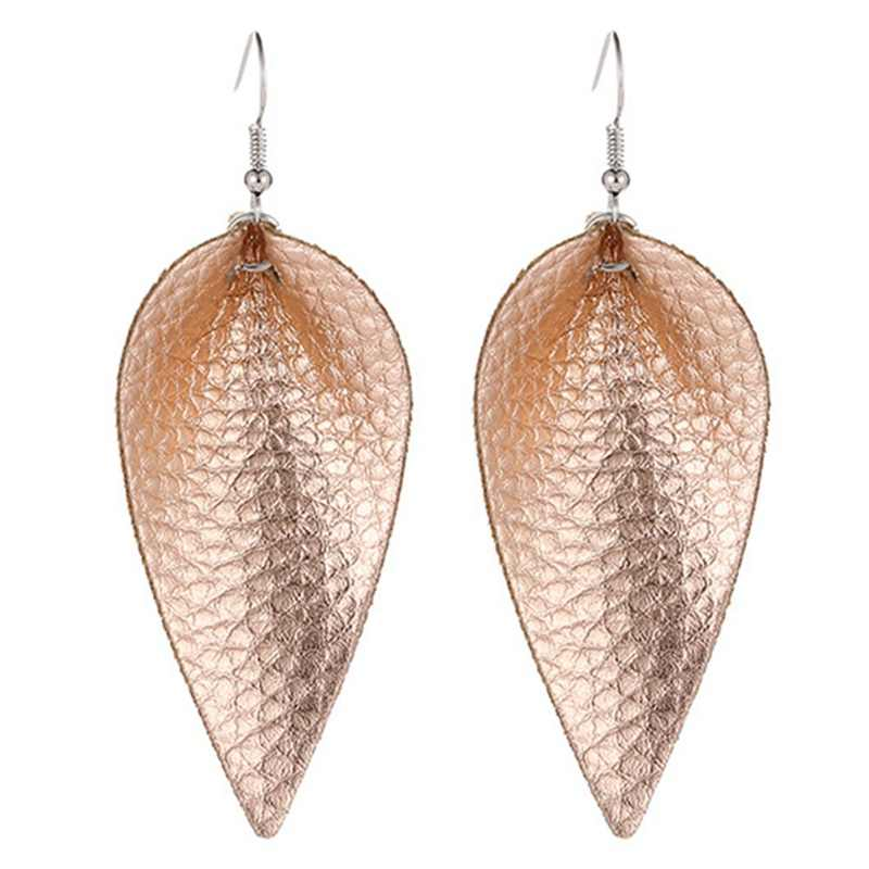 Boho PU Leather Teardrop Dangle Statement Earrings For Fashion Trendy Jewelry Women Water Drop Leather Earrings