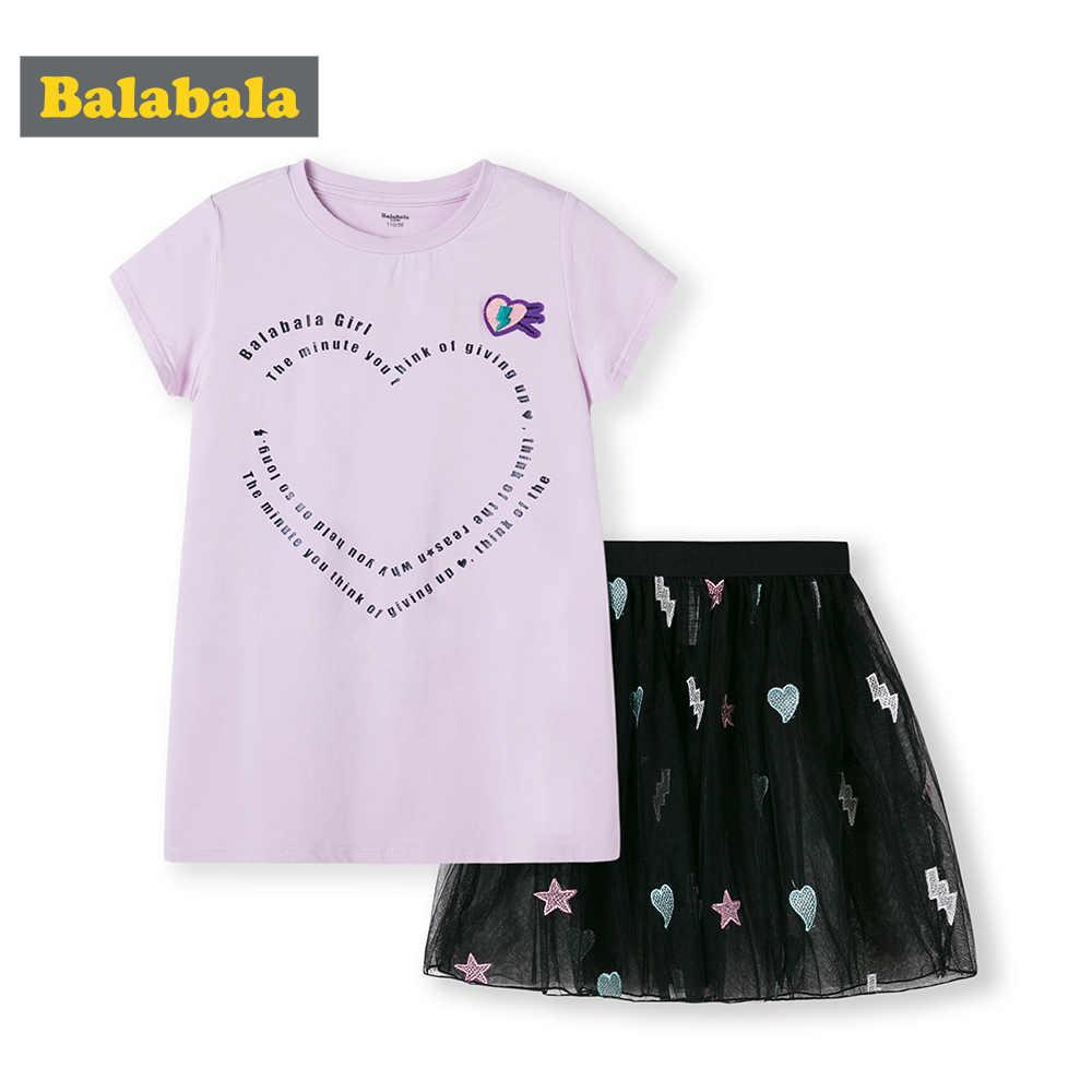 BalabalaChildren odzież ustaw dziewczyny garnitury lato 2019 nowych dzieci z krótkim rękawem Tshirt + spódnica ubrania dla dzieci