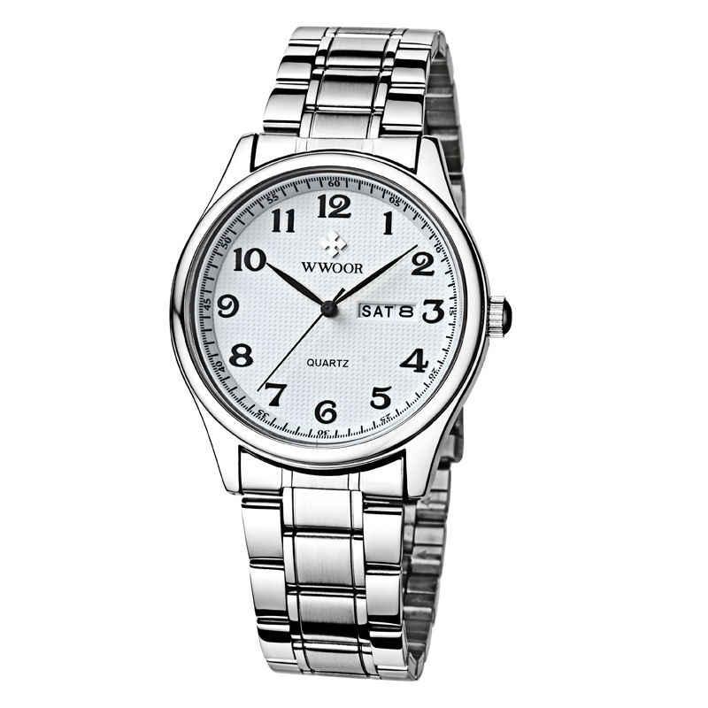 Новинка 2018, Брендовые мужские часы с датой и днем, часы из нержавеющей стали, повседневные кварцевые часы, спортивные наручные часы с цифрами