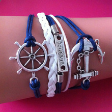 Wholesale Silver Alloy Anchor Rudder Courage wrap link bracelet for Women Men White & Blue Weaved Leather Rope Wrap Chain wrap l