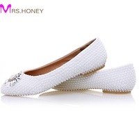 2017 White Pearl Flat Heels Wedding Shoes Comfortable Bridesmaid Shoes Bride Formal Dress Flats Party Prom