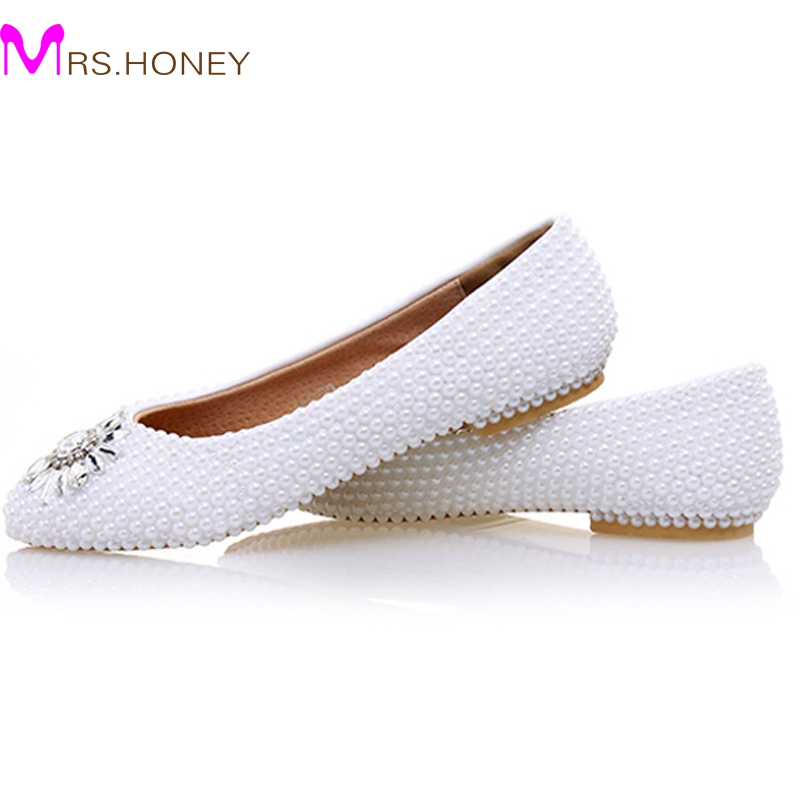 2017 White Ivory Pearl Flat Heels Wedding Shoes Comfortable Bridesmaid Shoes Bride Formal Dress Flats Party Prom Dancing Shoes