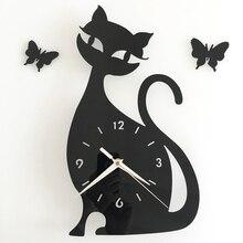 Здесь можно купить   DIY Wall Clocks Horloge Watch Cute Cat Modeling Pendule Murale Mirror Wall Clock Modern Design Living Room Orologio  Home Decor