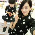 1pc Retail New 2015 Mother Daughter Matching Dress Autumn Fashion Long Sleeve Star Print Dresses Clothes Set