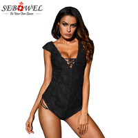 Sebowel Black Capped Lace Sleeve Teddy Sexy Lace Bodysuit Women Tops Rompers Womens Jumpsuit Lace Up V Neck Backless Bodysuits