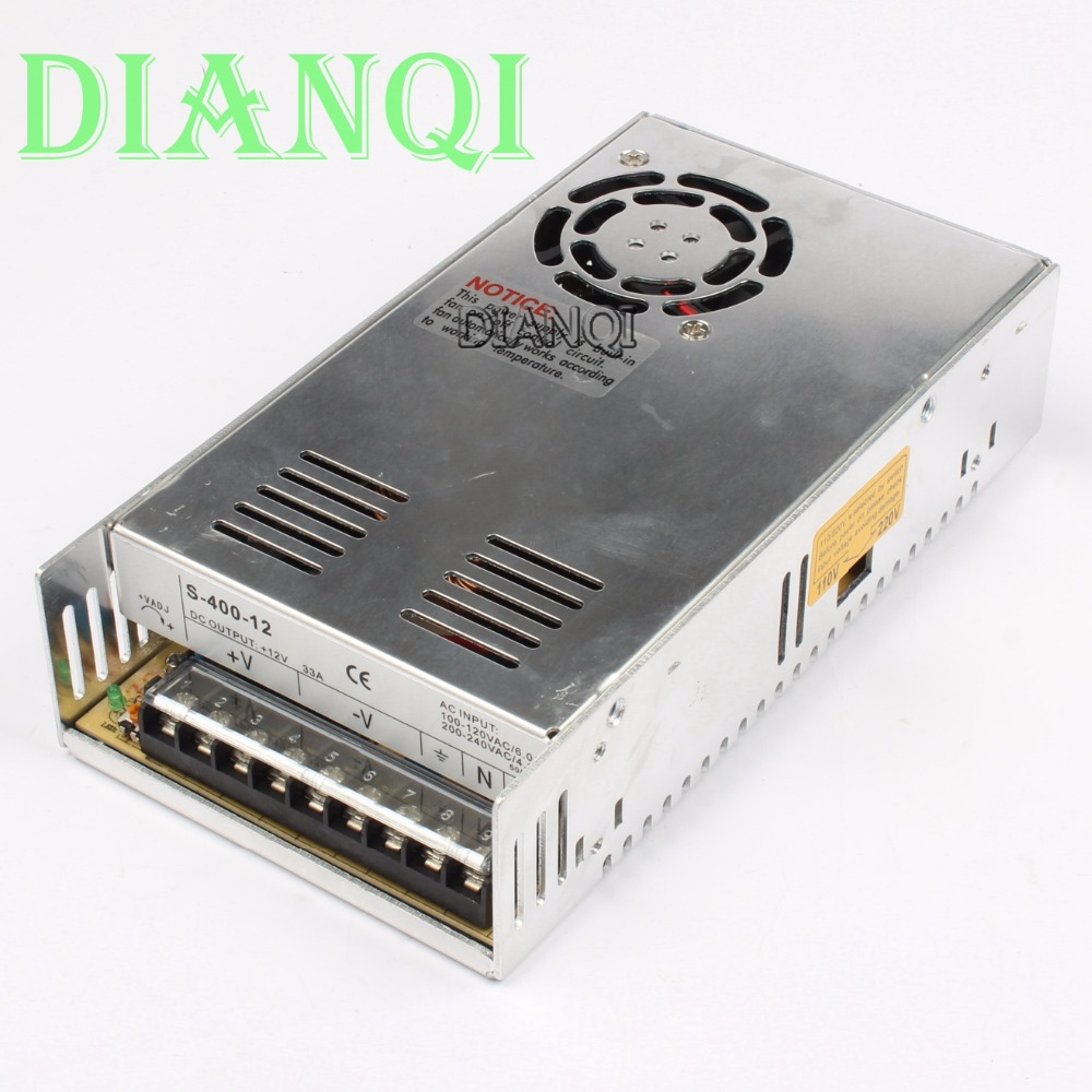 DIANQI power suply 12v 400w ac to dc power supply ac dc converter 400W 12V 33A Single Output Switching power supply  S-400-12 nes series 12v 35w ul certificated switching power supply 85 264v ac to 12v dc