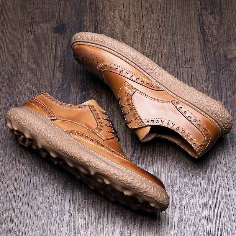 Bullock Vache Tout Décontractées En Naturel Brown allumette Décontracté Véritable Cuir Chaussures Mocassins Sculpture Mâle Hommes Mens noir EDWH29IY