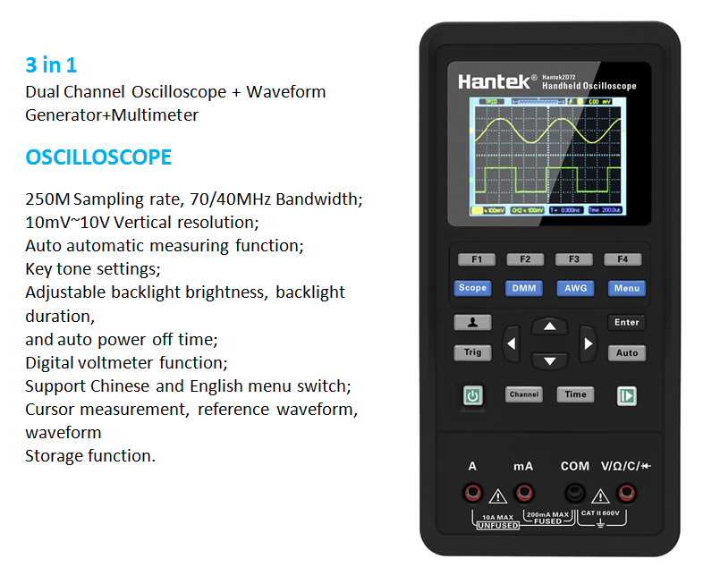 Hantek osciloscópio digital portátil automotivo 2d72 2d42