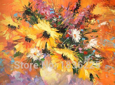Fleurs peinture À L'huile peinture À L'huile huile de tournesol avec table fleur vase Peintures papier peint au Mur décor Cuisine Décoration