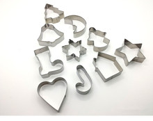 10pcs/lot Christmas Tree Cookie Cutter Mold Stainless Steel Pastry Biscuit Fondant Cake Baking Mold Kitchen Accessories PD 011 christmas tree cookies cutter stainless steel biscuit cake mold baking tools