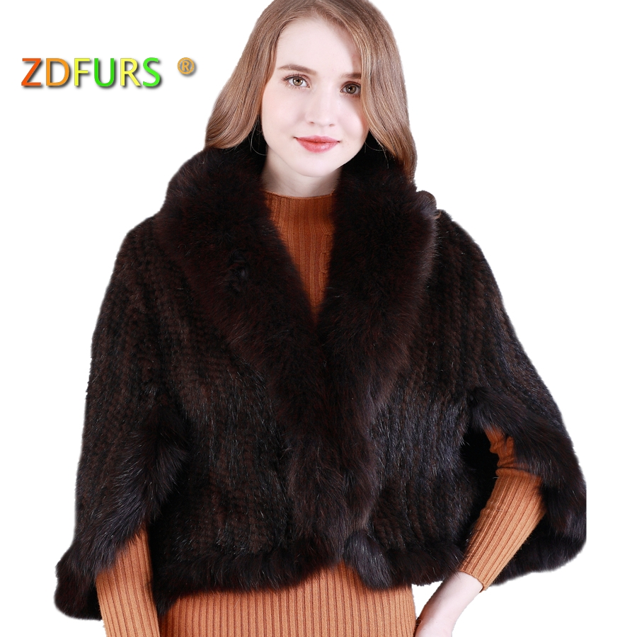 ZDFURS *New Genuine Knit Mink Fur Shawl Poncho With Fox Trimming Real Mink Fur Jacket Fashion Women ZDKM-166001