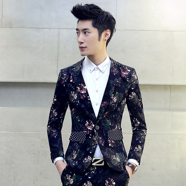 M-5XL plus size2016free shipping jaqueta masculina new winter casual suit  Korean flower printed Mens 36adfce37d2d