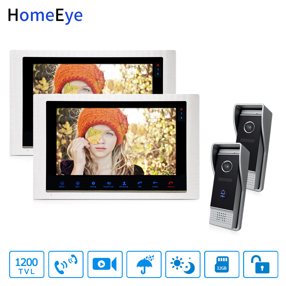 HomeEye Video Door Phone Video Intercom Motion Detection Touch Button 10'' Monitor 1200TVL IR Camera 2-2 Security Access System
