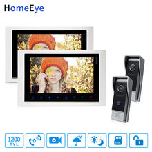 HomeEye Video Door Phone Intercom Motion Detection Touch Button 10 Monitor 1200TVL IR Camera 2-2 Security Access System