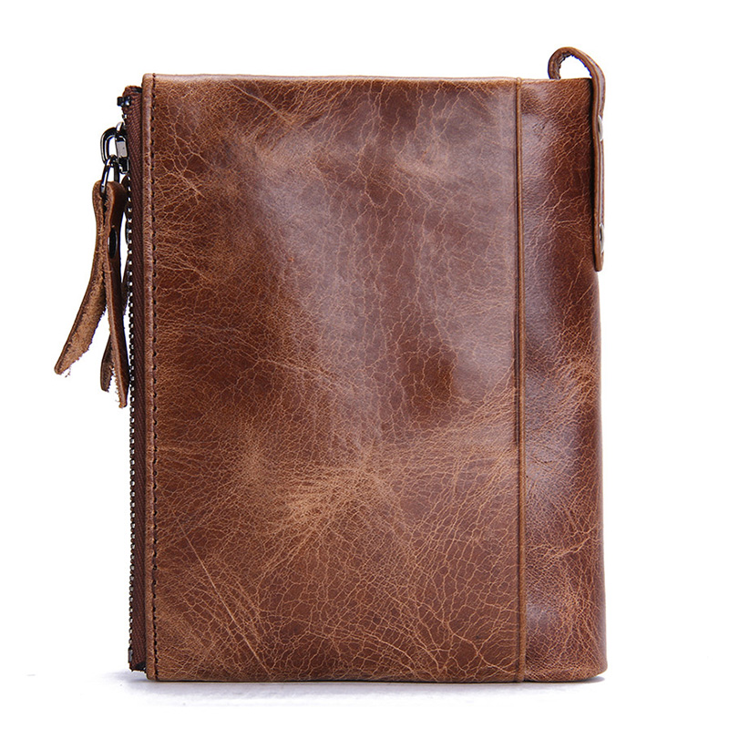 Image 2 - CONTACT'S HOT Genuine Crazy Horse Cowhide Leather Men Wallet Short Coin Purse Small Vintage Wallets Brand High Quality Designer-in Wallets from Luggage & Bags