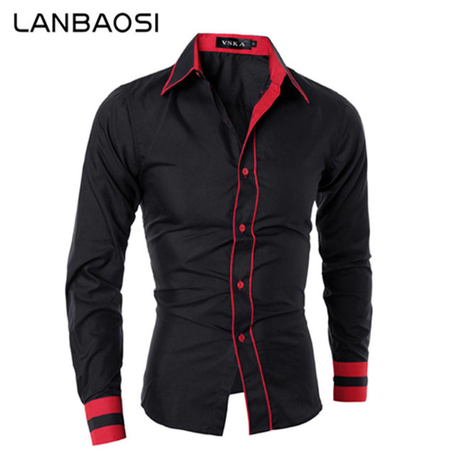 new arrivals 68b97 7bba1 US $29.69  LANBAOSI British Trendy Shirts Men Business Casual Stitching Hit  Color Shirts Slim Fit Long Sleeve Shirt New Stylish Cotton Hemd-in Casual  ...