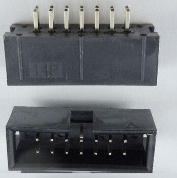 1000 Pcs Shrouded Box header IDC Socket 2.54mm 2x7 Pin 14 P Straight Male square pin 0.64mm 2 rows 2.54 Through hole DIP