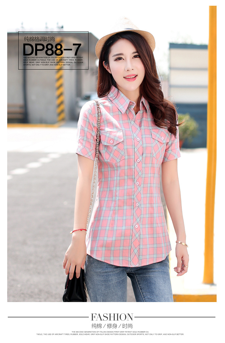 HTB1lcrSHFXXXXXQXXXXq6xXFXXXn - New 2017 Summer Style Plaid Print Short Sleeve Shirts Women