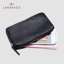 LANSPACE 남성용 가죽 지갑 패션 동전 지갑 홀더 유명 브랜드 지갑