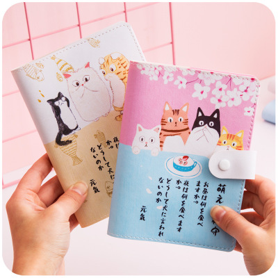 A6 Japanese Cute Cartoon Cat Pocket Diary Notebook Colorful Pages Waterproof Yearly Week Planner Schedule Notepad Bullet Journal