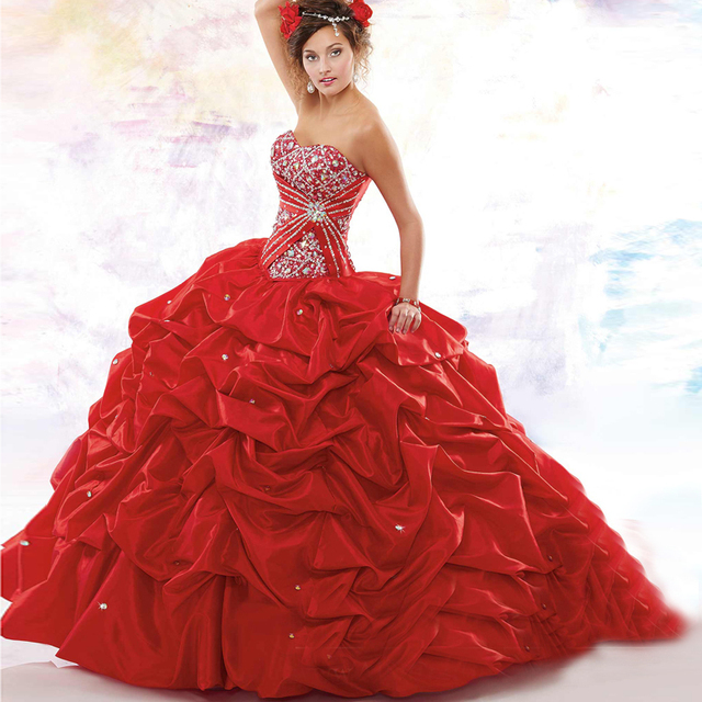 Quinceanera Vestidos Distinctive New Style Doce 16 Ruched Bonito Beading Lantejoulas Custom Made vestido de Baile de Tafetá Vermelho Vestido 2017