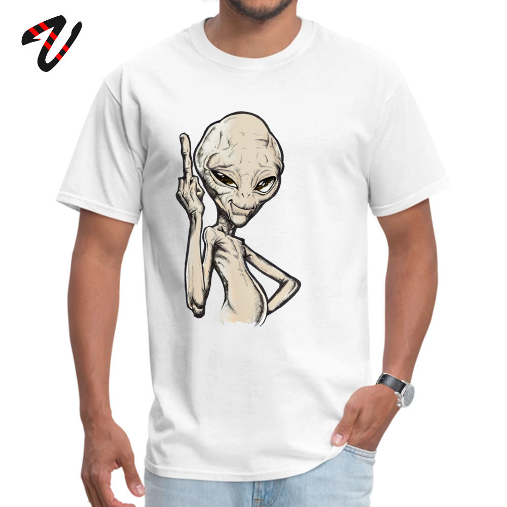 Paul the Alien Tops T Shirt Prevalent O Neck Simple Style Short Sleeve All Cotton Student T-Shirt Funny Tee-Shirt Paul the Alien -2324 white