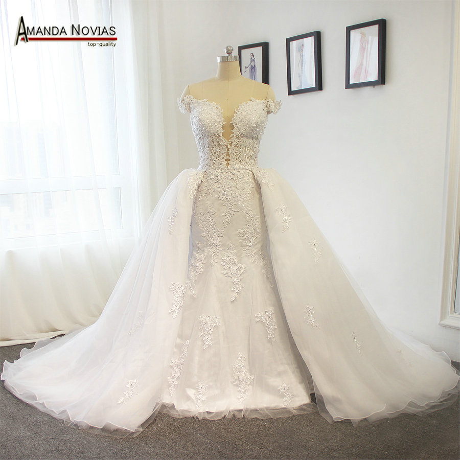 Newest Sexy But Beautiful Two In One Off The Shoulder Wedding Dress