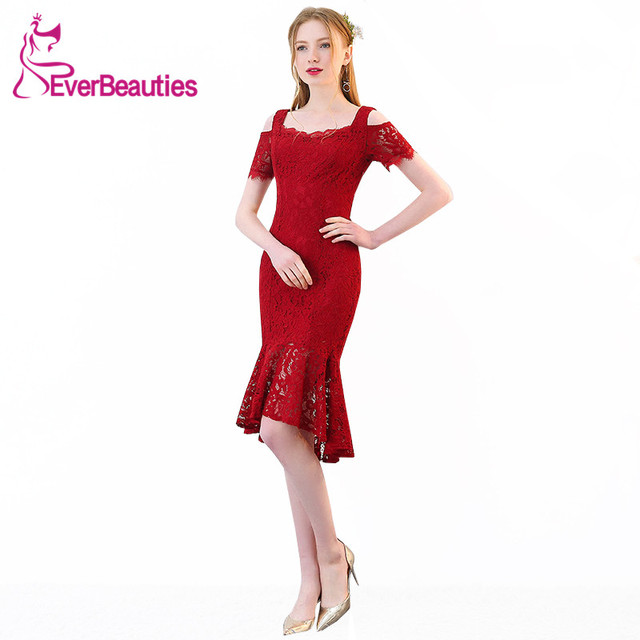 fcd0b9dd631 Mermaid Cocktail Dresses 2019 Wine Red Short Lace Prom Party Dresses Robe  De Cocktail Women Homecoming Dresses